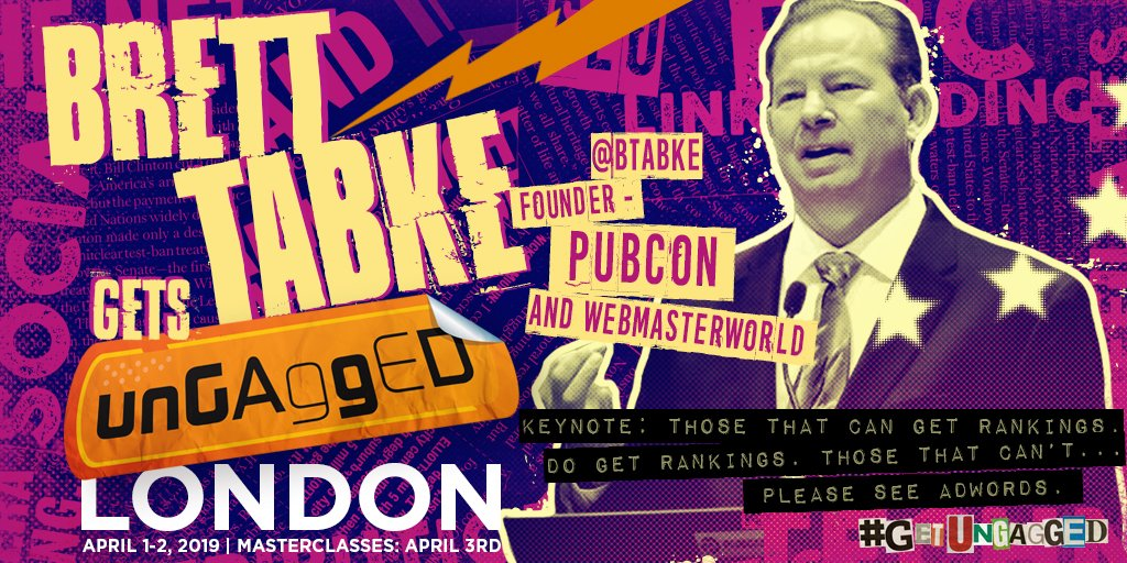 Marvel Crossover: @WebmasterWorld & @Pubcon CEO and founder Brett Tabke will be Getting UnGagged in April! His NEW talk will look at 26 fresh high-performing hacks that you can apply now!  Seen Brett before? You've never seen him #GetUnGagged. http://bit.ly/2T3iY8n