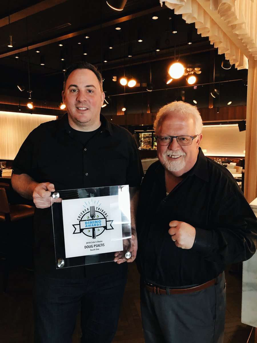 """Congratulations to our Chef Partner Doug Psaltis for receiving @chicagotribune's Critic's Choice Dining Award for """"Jack of All Trades."""" Thank you, @philvettel! https://t.co/j5MjmdXJwa"""