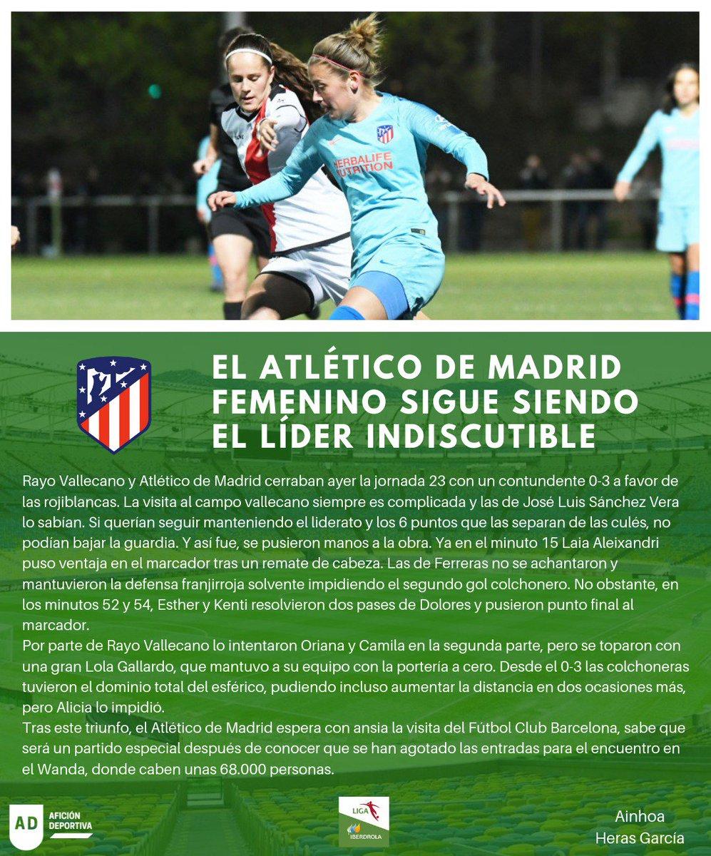 Ayer acabó la #Jornada23 de la #LigaIberdrola con el @RayoFemenino 0-3 @AtletiFemenino  Os lo contamos en @ADeportiva19 ⤵⚽💁  #Rayo #Atleti #Futfem #RayoAtleti
