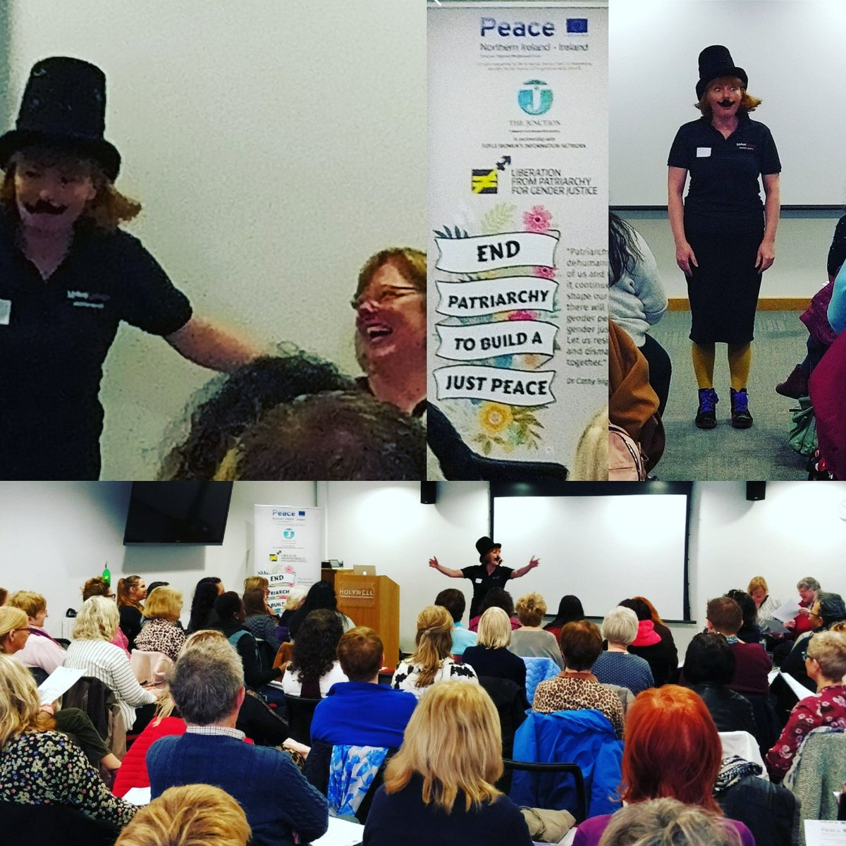 Here's Pat Riarchy turning up to keep people in their place at the 'Patriarchy Here and There: Transforming a Global System' conference. Brilliant event. Fab speakers. Lively discussion. #SmashThePatriarchy #funnywomen #theOtherDerryGirls #educational #Feminism