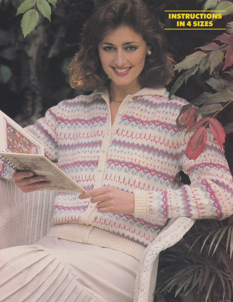 8e1afbbf4 Womens Fair Isle Cardigan Knitting Pattern PDF Ladies 32