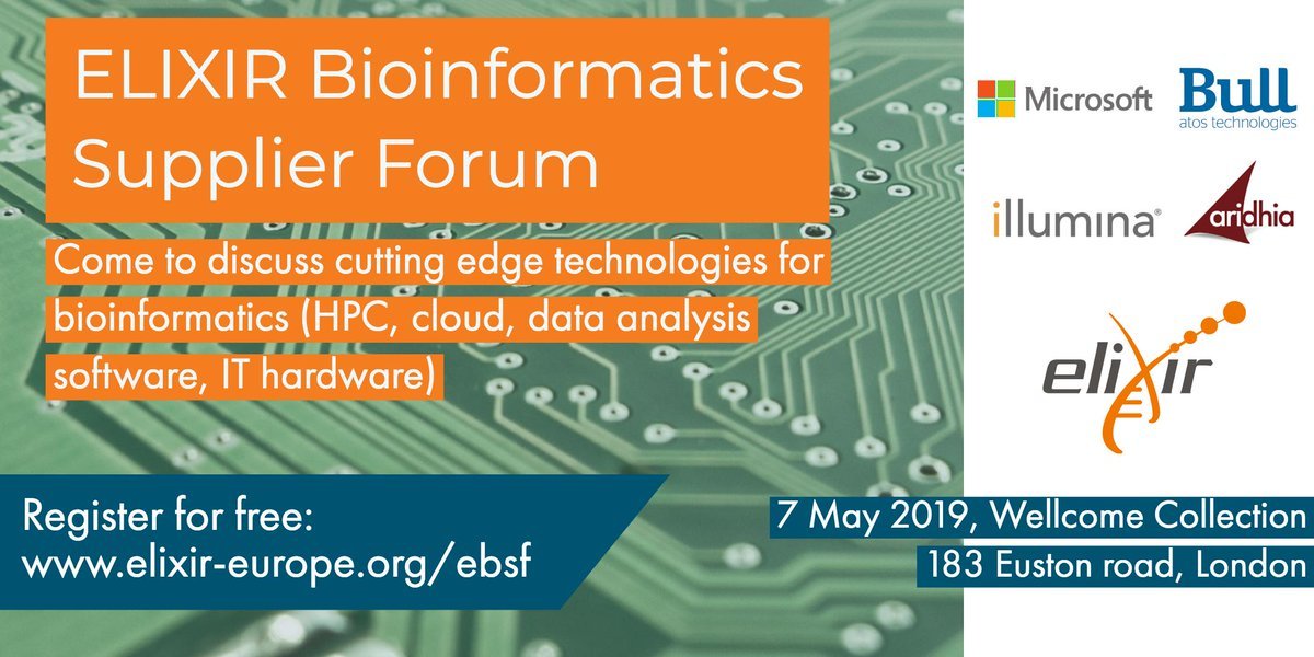 Do you ❤️ #bioinformatics? Do you have solutions for bottlenecks in the sector or just want to learn about cutting edge developments? We might just have the event for you and it is free to attend: Join us for the 'ELIXIR Bioinformatics Suppliers Forum' https://t.co/QZYVwYNq3G https://t.co/2ghio27snO