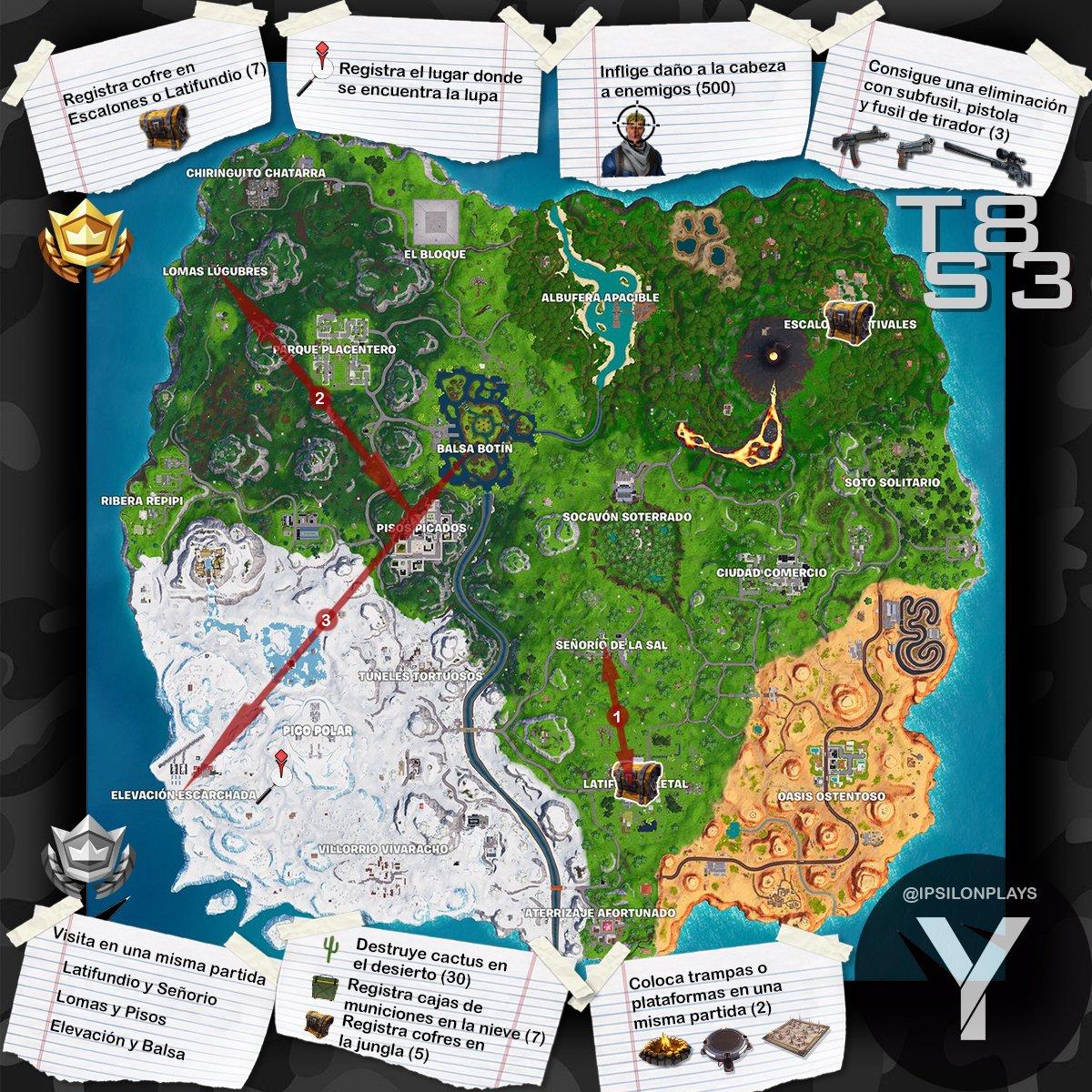Mapa Temporada 8 Fortnite.Ojo Mapa De Los Desafios De La Semana 3 De La Temporada 8