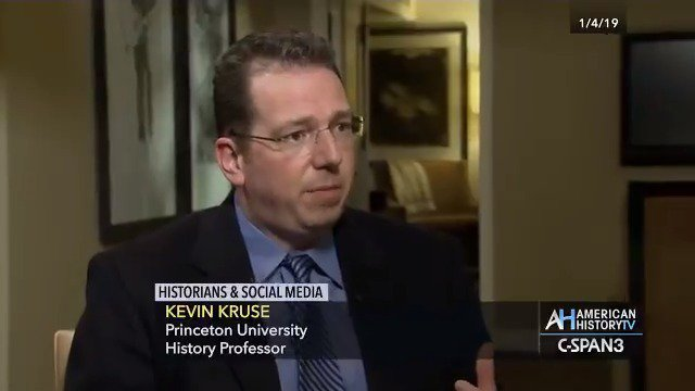 """""""Historians have a special knowledge about our past and there are a lot of mistruths being spun about that… and we have a duty to step in and correct those."""" - @KevinMKruse Watch the full interview on Sunday 6:45pm & 10:45pm ET on C-SPAN 3.  #twitterstorians"""