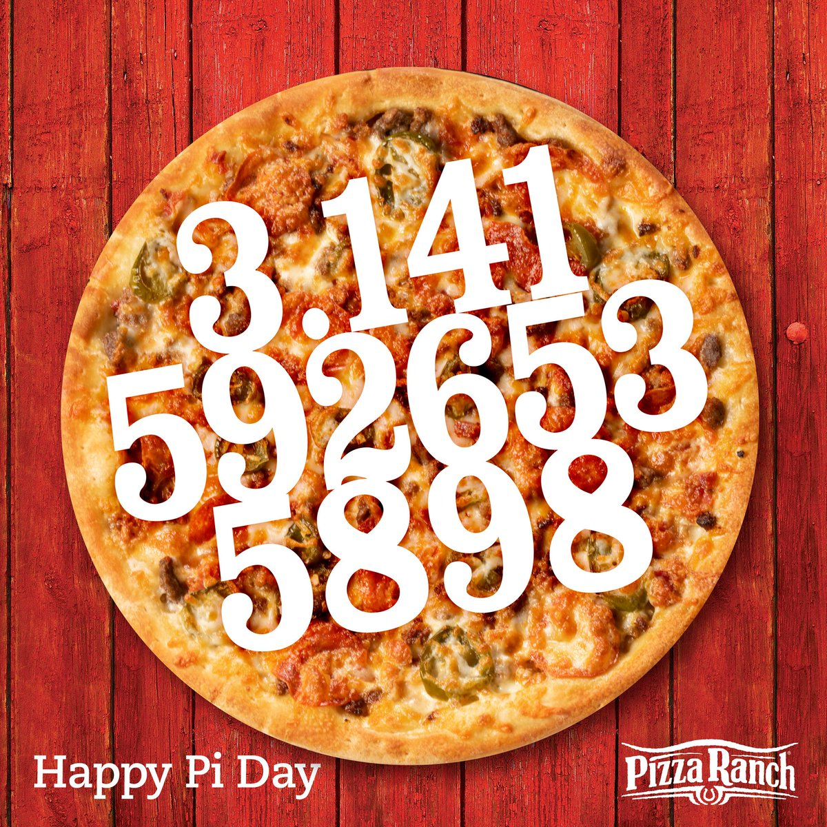 Celebrate #piday with the most legendary pizza pi! 🍕 What's your favorite pi combination at Pizza Ranch?  Enjoy it at our Buffet Your Way or order online for carry or delivery: http://bit.ly/prpiday