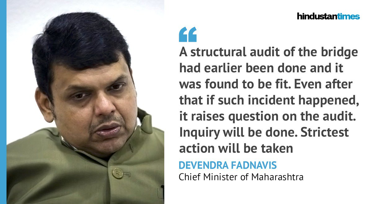 #MumbaiBridgeCollapse | It's unfortunate. I've ordered for a high level inquiry: @Dev_Fadnavis   Updates here: https://t.co/b7kyLXB9Nn https://t.co/YN95upWHbS
