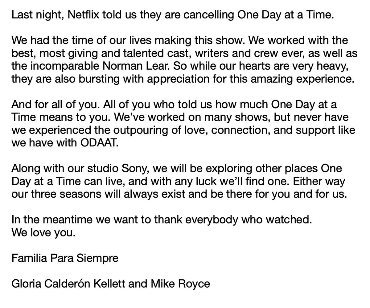 Netflix Takes Axe to 'One Day at a Time' After Three Seasons at a Time