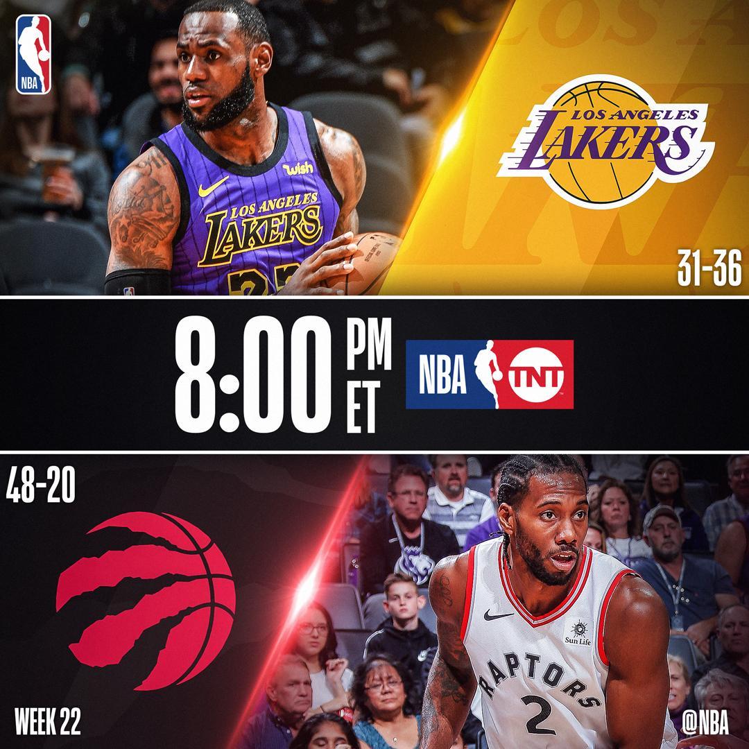 TONIGHT on @NBAonTNT! ����  8pm/et: @Lakers x @Raptors  10:30pm/et: @dallasmavs x @nuggets https://t.co/TeWVrsDTKr