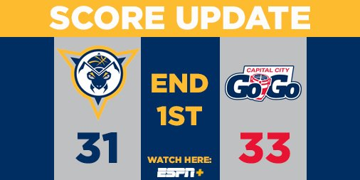 End 1st | Mad Ants 31, Go-Go 33 Alize with 12 points and 3 rebounds. #MadAboutBlue
