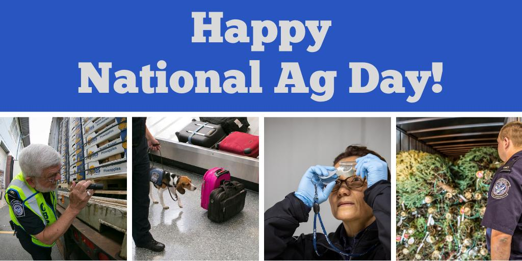 On #NationalAgDay, we thank our #CBP Ag Specialists and Ag K9s for ensuring that imported fruits, vegetables, cut flowers, and other goods are free from hidden threats that could harm U.S. agriculture. Learn more about our agriculture protection mission:  http:// bit.ly/2O8qbDu  &nbsp;  <br>http://pic.twitter.com/doAzF8CaG5