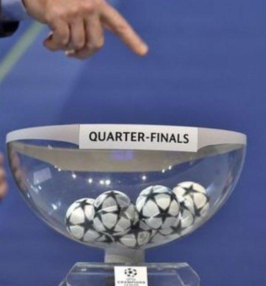 Leaked #ChampionsLeague quarter final draw.  Spurs v Ajax Liverpool v Juventus Man Utd v Barcelona Man City v Burton