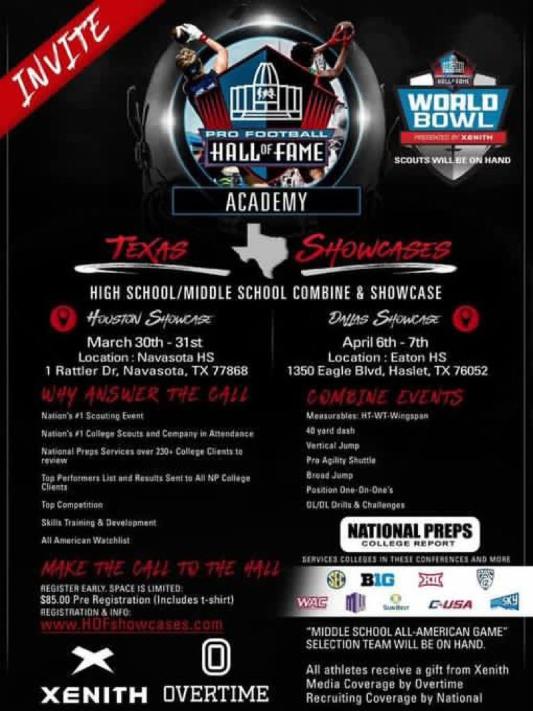 Blessed and Honored to be invited to the Pro Football Hall of Fame Showcase @KLEINCAINFB