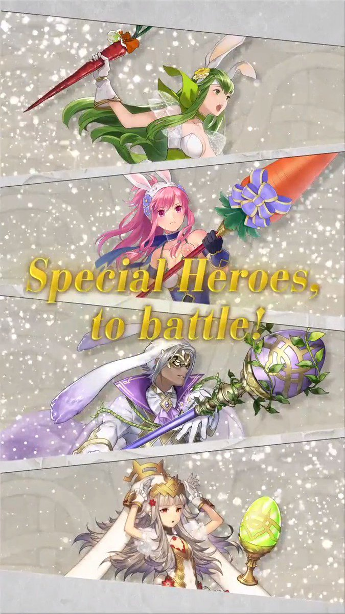 A new #FEHeroes Special Heroes summoning event: Regal Rabbits featuring Palla, Marisa, Bruno, and Veronica will start at 12am PT on 3/19!