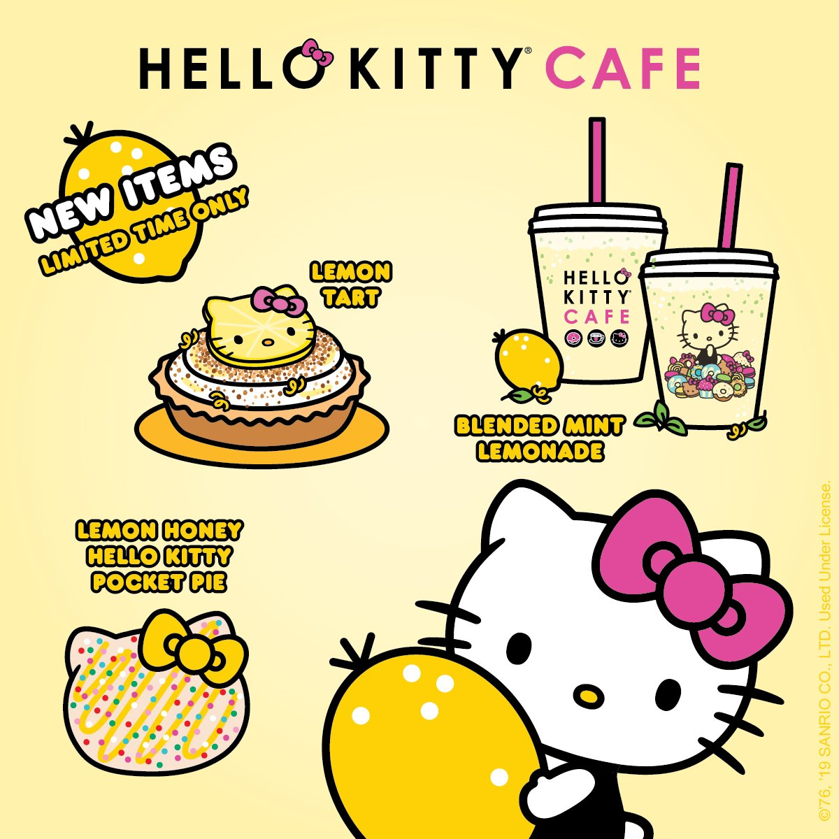 Super sweet news! Our new lemony sweet menu is squeezing through on Friday at all Hello kitty Cafe locations #comingsoon<br>http://pic.twitter.com/eVxJgeACee