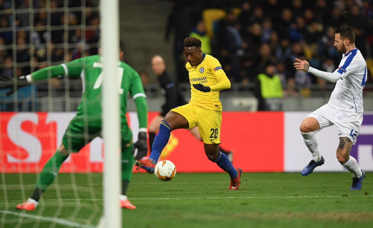 Too much pace in-behind from @Calteck10, who collects @_OlivierGiroud_&#39;s through ball to slot past Boyko!   That&#39;s an 8-0 lead on aggregate for the Blues now!  0-5 [78&#39;] #DYNCHE <br>http://pic.twitter.com/ZrROVMTU1u