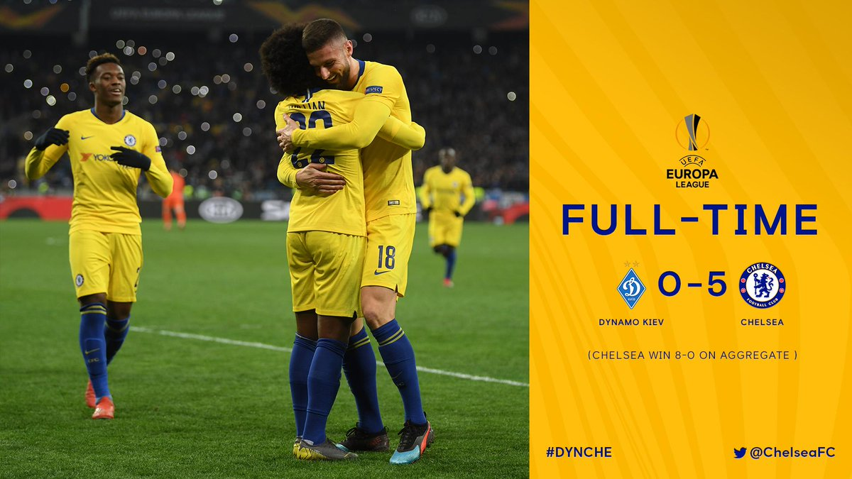 It&#39;s all over! 5-0 tonight, 8-0 on aggregate and the Blues are heading into the quarter-finals!   #DYNCHE <br>http://pic.twitter.com/HnBd7w3mf2
