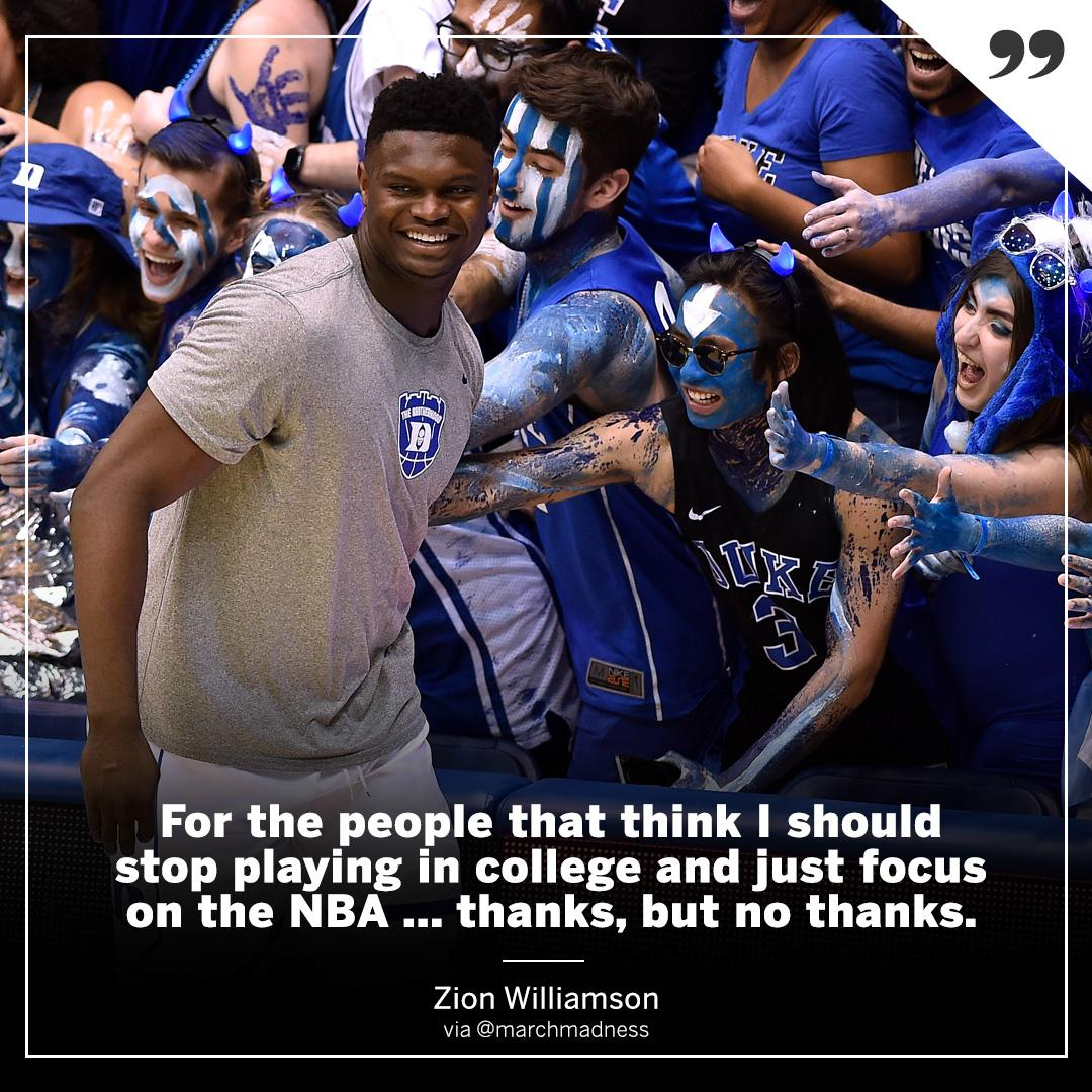 Zion is focusing on the present. https://t.co/WYfd9M8zyk
