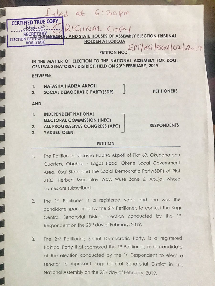 Hurray ... We filed our petition at the tribunal today 😃  As our journey to reclaim our victory officially starts today, we ask for your steadfastness in prayers and believe in the essence of our reformative journey.   God bless us all #Natasha #Akpoti  #Kogi Central #Senate SDP
