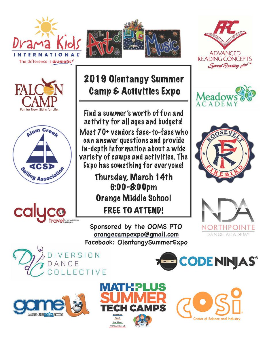 Not sure what activities are available for kids this summer? Attend the Olentangy Summer Camp & Activities Expo tonight (3/14) at Orange Middle School from 6-8 p.m. Meet 70+ vendors face-to-face who can answer questions and provide in-depth information about camps and activities.