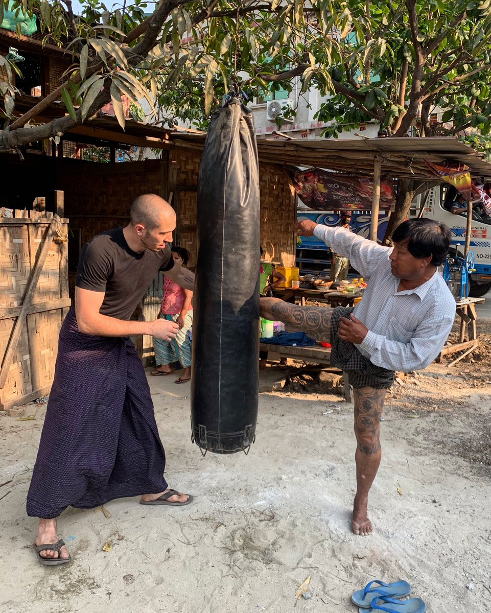 @kingleduc exploring Myanmar &amp; learning from the older generation Lethwei fighters. *Notice the #Lethwei leg tattoos <br>http://pic.twitter.com/eohJnug3jl