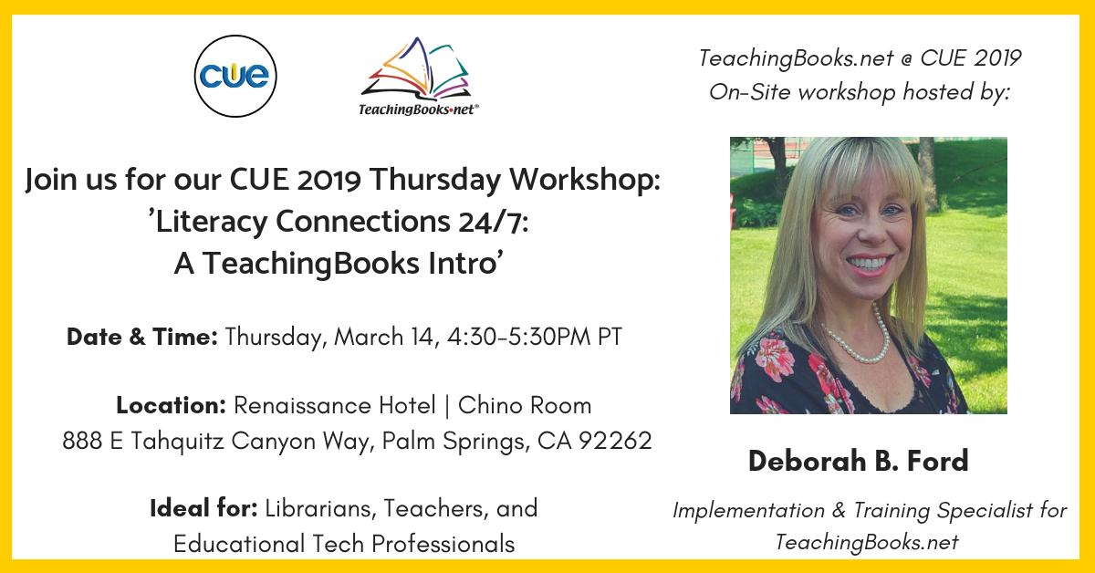 test Twitter Media - Join @libdeborahford this afternoon for her fun and interactive workshop 'Literacy Connections 24/7: A TeachingBooks Intro'.  Register now by clicking this link: https://t.co/1Xnk8IvLB0. We hope to see you there!  #CUE2019 #CUE19 #WeAreCue #CAEdChat #CUE #SpringCue #CueChat https://t.co/Yk4SPh7iHa