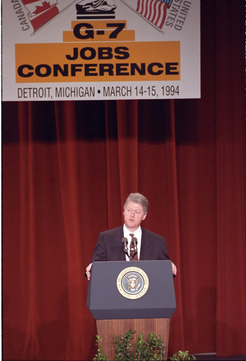 """#OTD in 1994, Pres. @BillClinton spoke at the Group of Seven (G7) jobs conference in Detroit. He called upon governments and private industries to create """"global economic growth."""""""