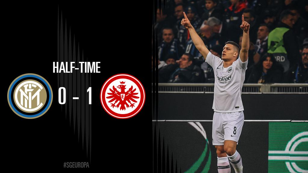 HALF-TIME! All going to plan for the Eagles so far   #SGEuropa #InterSGE | 0-1 <br>http://pic.twitter.com/TVrCKWQqx3