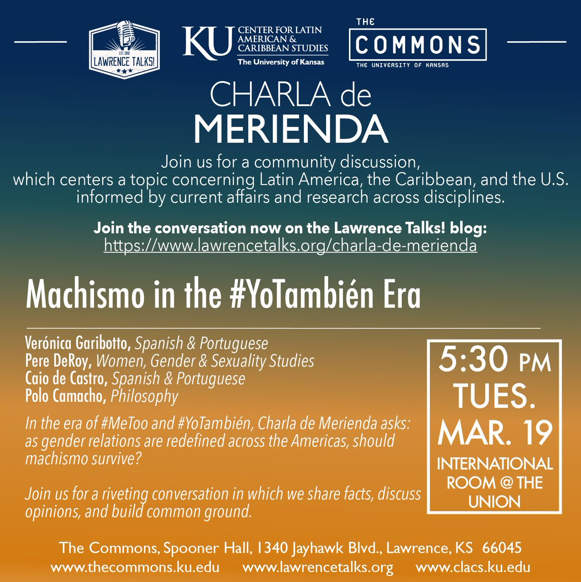 As spring break is coming to a close, there are still some things to look forward to... like this Tuesday! Join us for our second Charla de Merienda of the semester: Machismo in the #YoTambién Era