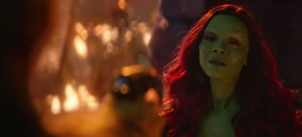 """Katie 😈 on Twitter: """"Thanos brings Gamora back to his throne room (a room  Gamora saw often as a child) and again, they're sounded by darkness with  only the smallest hints of"""