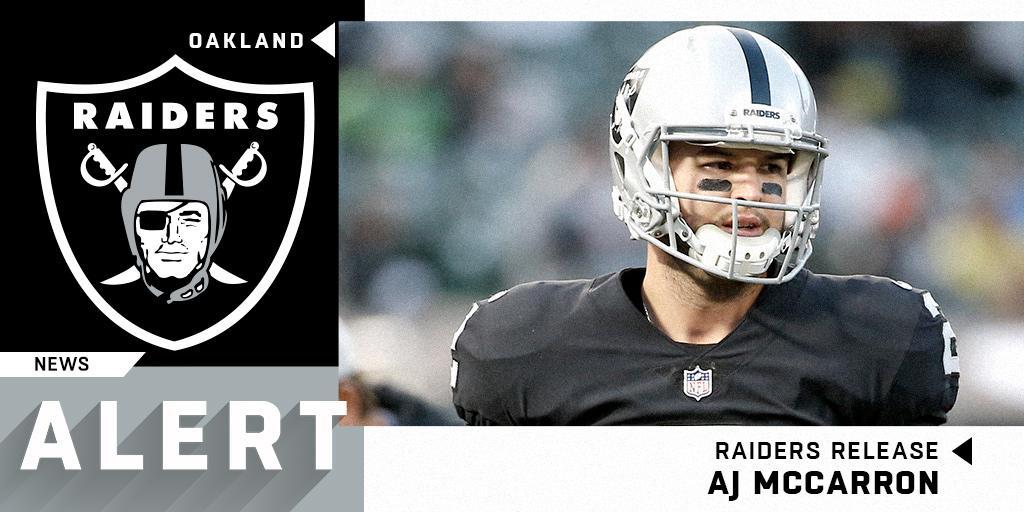 .@Raiders release backup QB AJ McCarron. (via @RapSheet) https://t.co/6iuh4R4S4X