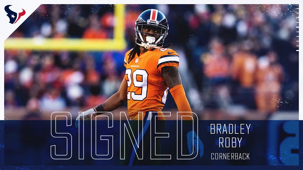 The #Texans have signed free agent CB Bradley Roby.  �� » https://t.co/F4ukzf5Zht https://t.co/AdAUJ78nRE