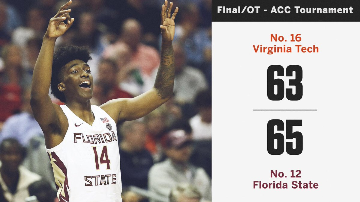 FLORIDA STATE ADVANCES IN OT!  The Noles will play No. 1 Virginia in the semifinals!