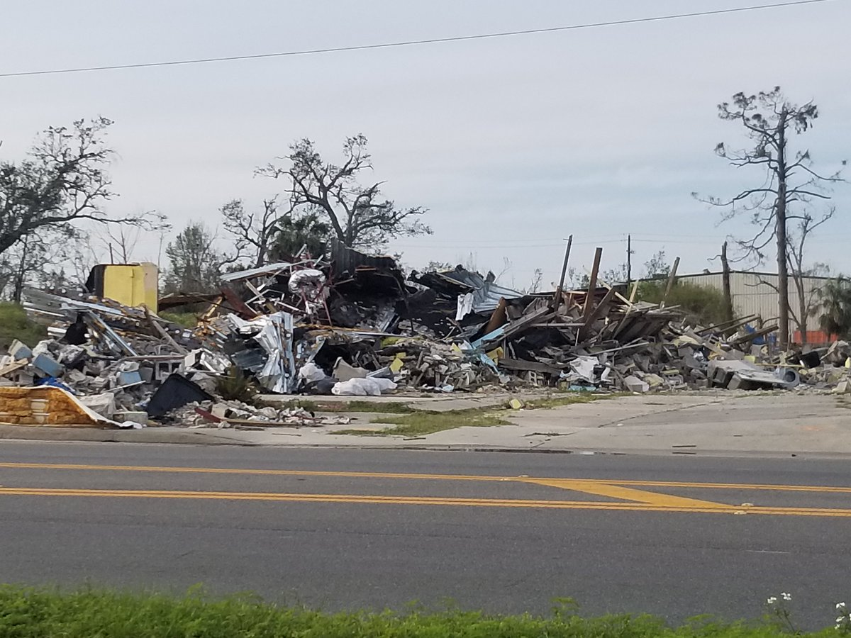 More severe damage still visible in the #Panamacity area; more than five months after #HurricaneMichael.<br>http://pic.twitter.com/hPkCGAXltZ