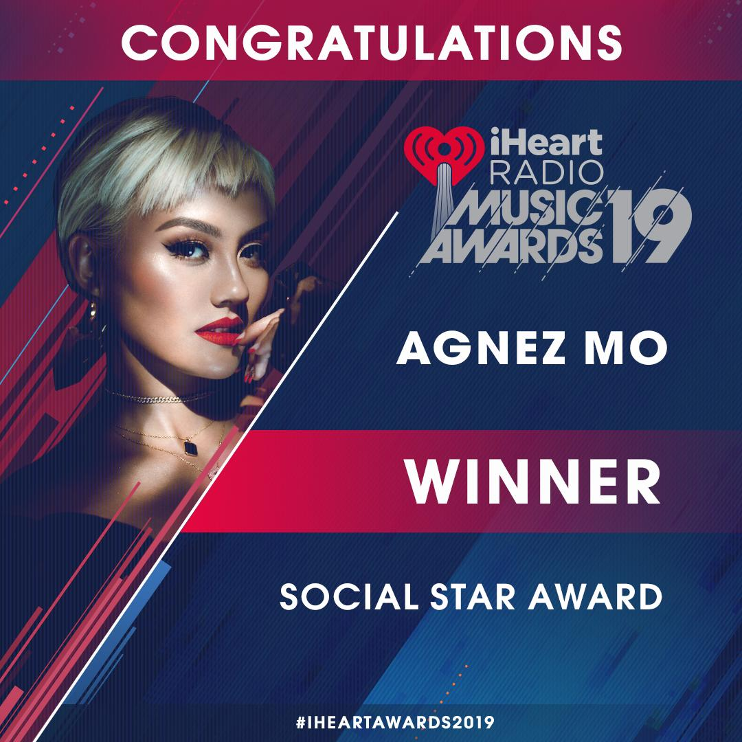 🚨 WINNER ALERT 🚨 You guys voted, rallied (legit in the streets) and now can officially say that @agnezmo has won the #SocialStarAward at our #iHeartAwards2019