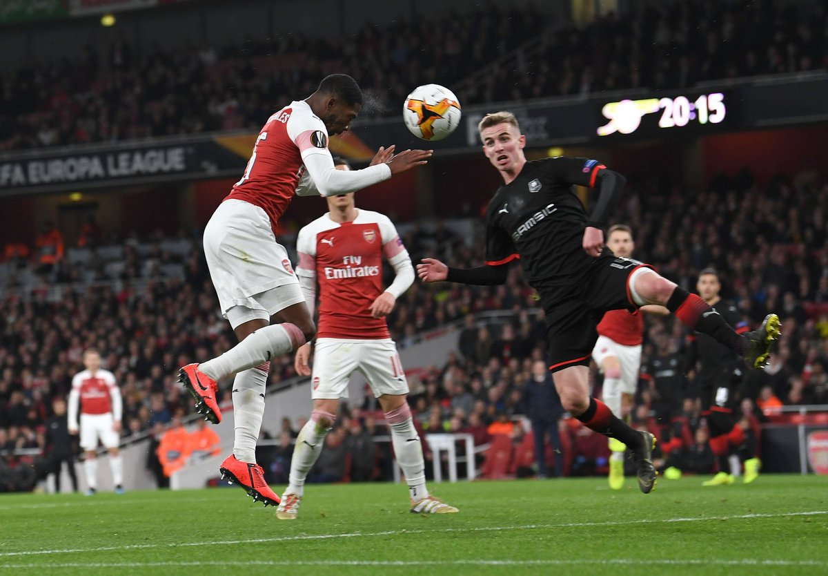 #AFC | Arsenal progress to the last 8 of the Europa League after beating Rennes 3-0 at the Emirates (4-3 agg).  Another great performance tonight, nervy at times but we got there! Solid and hard working shifts from all but for me, Maitland Niles just edged it for MOTM. Solid. <br>http://pic.twitter.com/ghkFx2cpAW