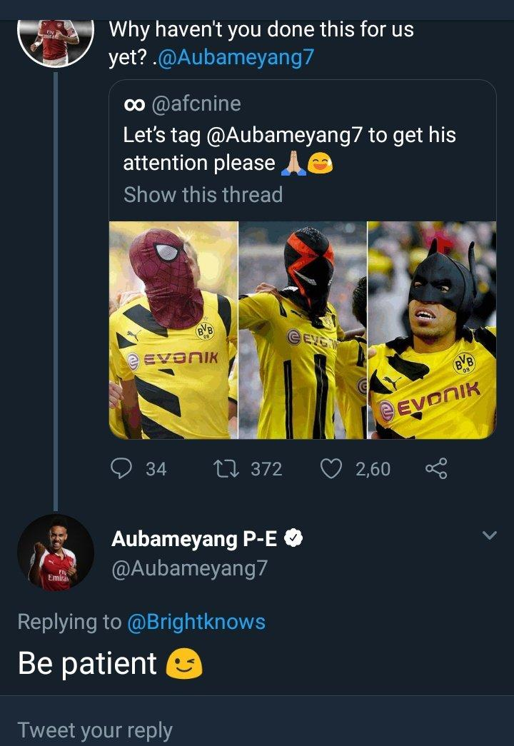 #WakandaForever  Here, #Aubameyang teaches us that patience is indeed a virtue  <br>http://pic.twitter.com/8dlGiepYaX