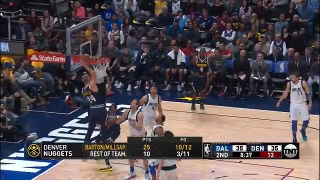 Mason Plumlee throws down the one-handed oop!  #MileHighBasketball 42 #MFFL 37  ��: @NBAonTNT https://t.co/wKCgXvxp2Q