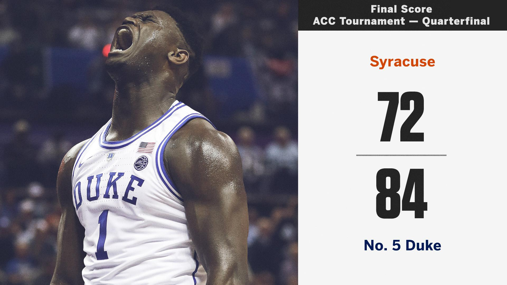 In Zion's return, Duke wins big over Syracuse! https://t.co/DFHhxM4RGs