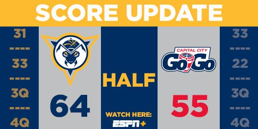 Halftime | Mad Ants 66, Go-Go 55 Fort Wayne shooting 60% in the first half. #MadAboutBlue