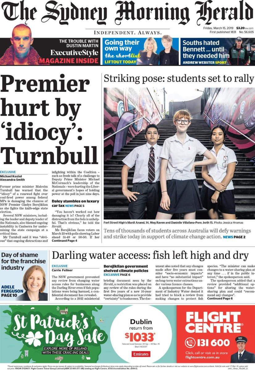 Front Pages Today's photo on Berejiklian