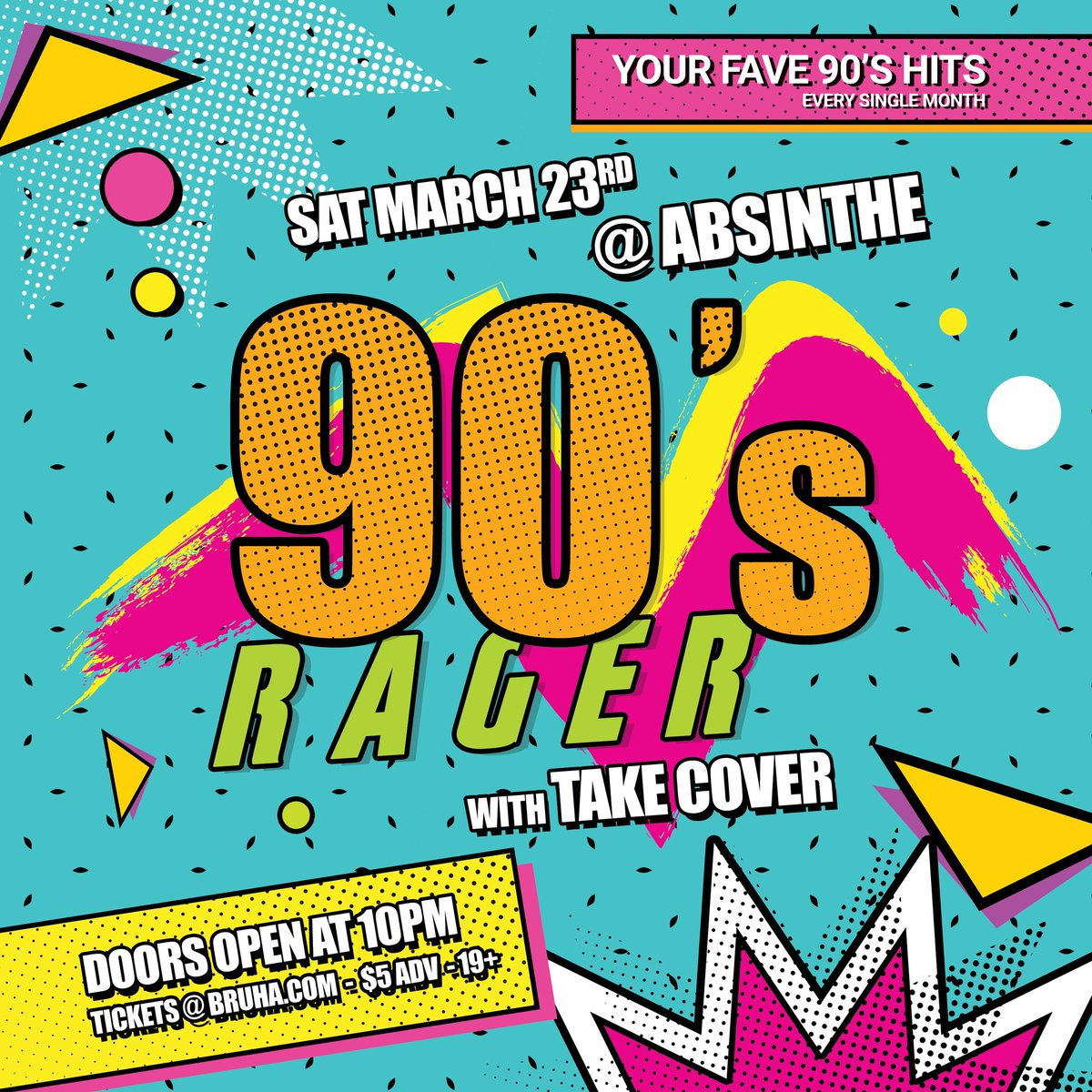 MARCH 23RD! Grab your Gameboy and Pogs and prepare for our monthly 90'S RAGER with @takecoverlive playing your fave 90's hits all night. Plus DJ PARTY JESUS spinning the freshest tunes this side of Limewire. Cheap $5 tickets here: http://bit.ly/2HzXfmE