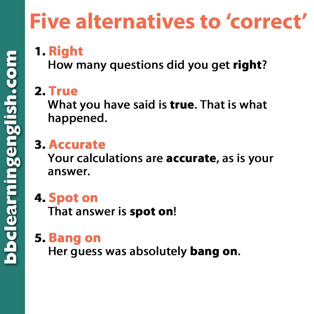 test Twitter Media - Learning #English is important, right? 'Right' is an #alternative to 'correct'. Here are a few more. They aren't perfect synonyms, but you get the idea... More useful phrases here: https://t.co/60tMOj4niM    #right #learnenglish #correct #bbclearningenglish #speakenglish #vocab https://t.co/4iAV6sLFGm