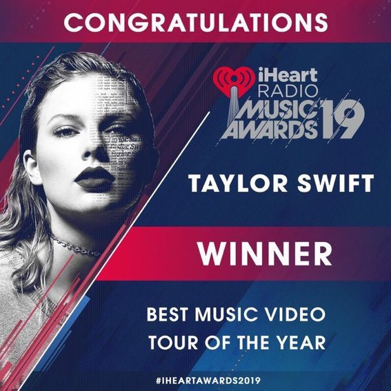 """You ARE the unforeseeable factor  Tour Of The Year + Best Music Video for """"Delicate"""" at the #iHeartAwards2019 !   WE LOVE YOU GUYS!  <br>http://pic.twitter.com/VJ5OnhAEG6"""