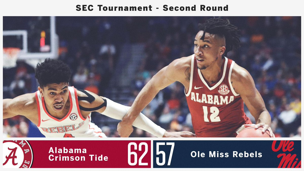 COMEBACK KIDS! @AlabamaMBB overcomes a 14-point halftime deficit to advance to the #SECMBB Quarterfinals 💪