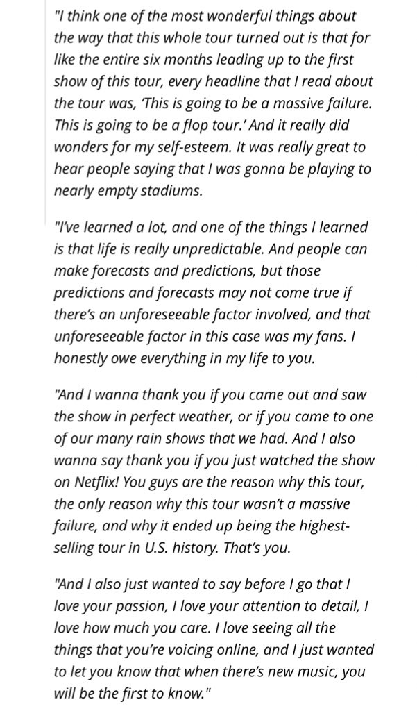 | Taylor Swift's full acceptance speech for Tour of the Year at the #iHeartAwards2019  [@billboard]<br>http://pic.twitter.com/wpvTFWlYKW