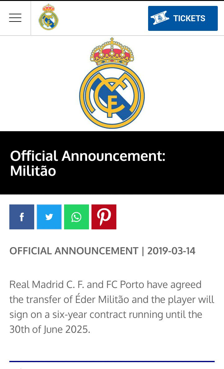 Real Madrid sign the Brazilian player Éder Militão for the next 6 seasons. #WelcomeMilitao #HalaMadrid ⚽