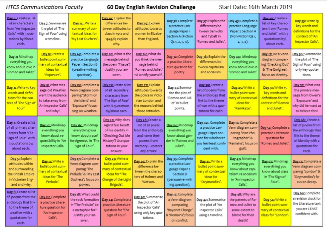 Year 11: TOMORROW = 60 days until English Lit Paper 1! So English have gifted  you the60 DAY REVISION CHALLENGE  Thank us later  <br>http://pic.twitter.com/yB2Bc4zqYx