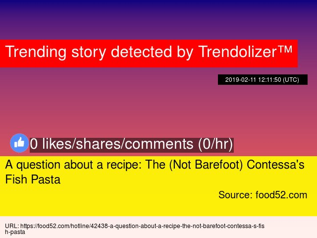 A question about a recipe: The (Not Barefoot) Contessa's Fish Pasta  https://t.co/HJR4w2g9Yz https://t.co/98TeihEoNl