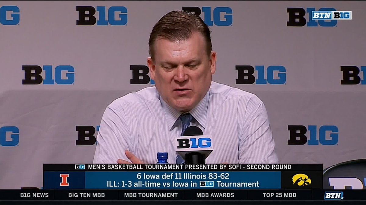 """""""This is the beginning of bringing Illinois basketball back.""""  - @CoachUnderwood, on @IlliniMBB's season, and young, talented roster  #B1GTourney x #MarchOnBTN"""