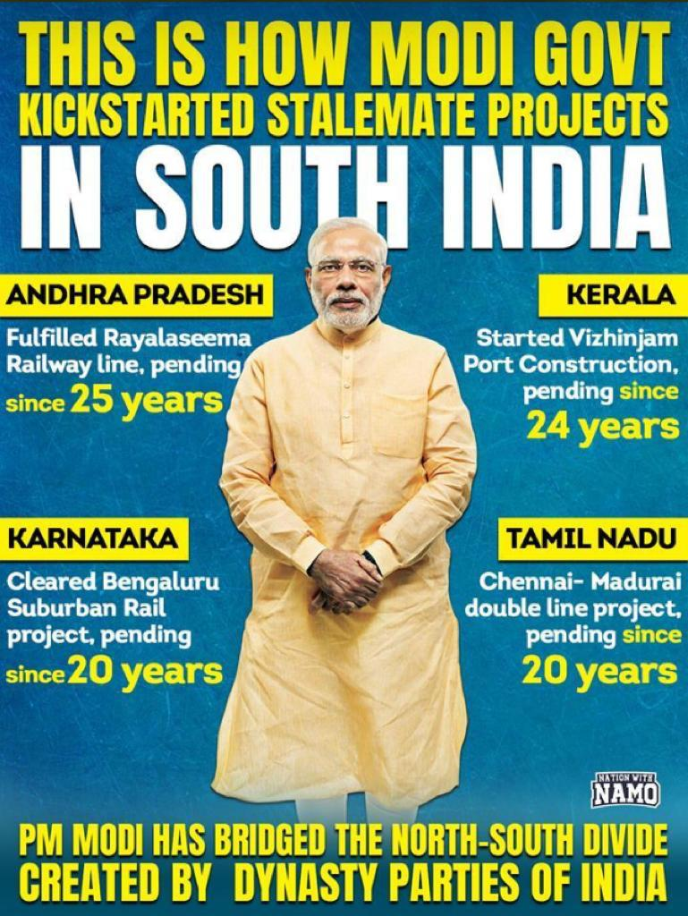Pending projects for more than 2 deacdes cleared and completed in 5 yrs. Vikas at its best #MyFirstVoteForModi #MyVoteForIndia <br>http://pic.twitter.com/aRvXX9EnRo